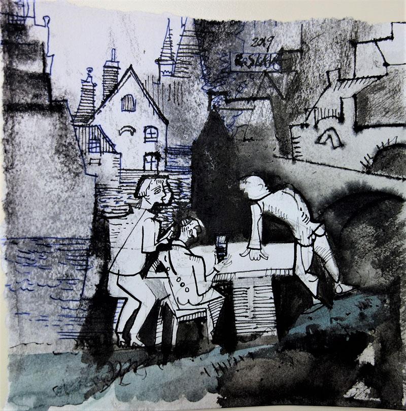 2019, Tusche, Kreide auf Papier, 14,5x15