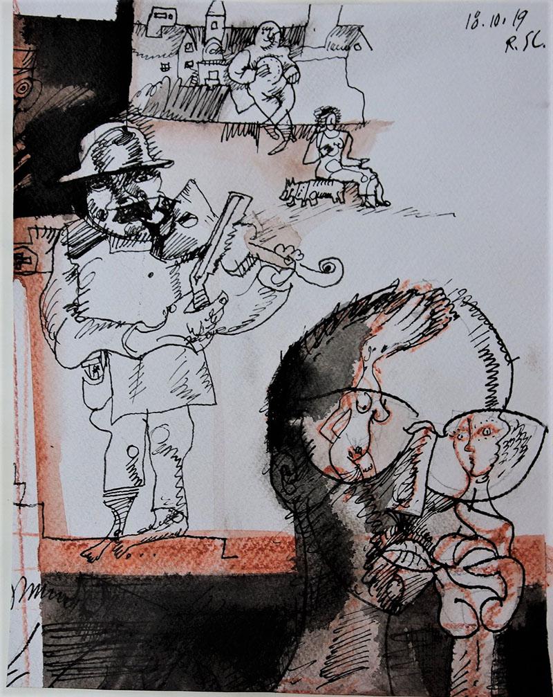 2019, Tusche, Rötel auf Papier, 24,5x19