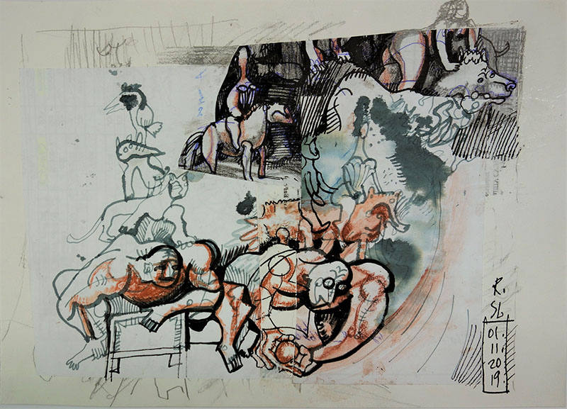 2019, Kreide, Tusche, Rötel auf Papier, 21x29,7