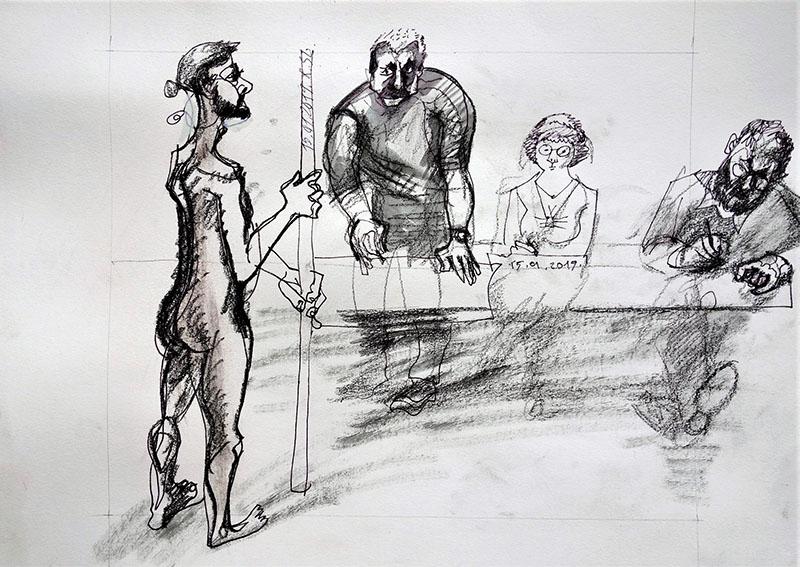 2020 Stift, Tusche, Kreide auf Papier 42x59,4