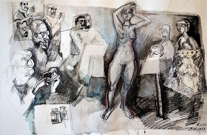 2019, Stift, Tusche, Kreide auf Papier, 42x59,4