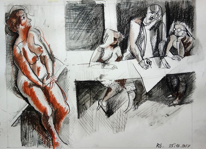 2017,  Tusche, Kreide, Rötel auf Papier,  28x35