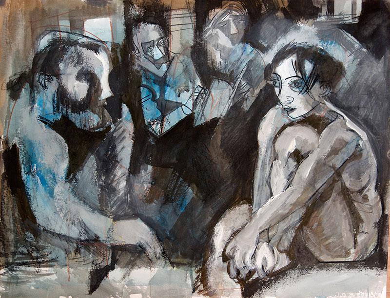 2017   Tusche, Kreide auf Papier 50x65