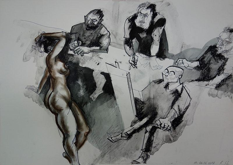 2018  Stift, Tusche, Kreide auf Papier42x59,4