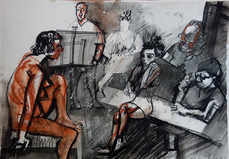 2018  Stift, Tusche, Kreide, Rötel auf Papier 29,5x42
