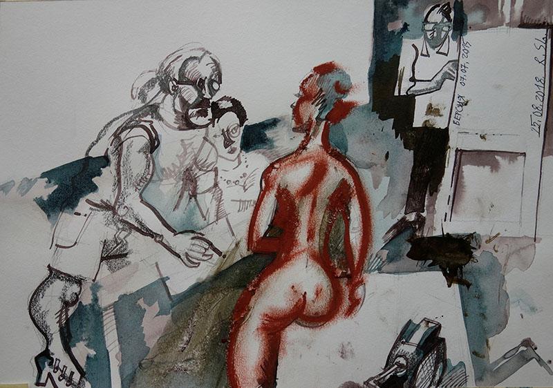2018  Tusche, Rötel auf Papier 21x29,5