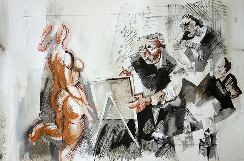 2017  Tusche, Kreide, Rötel auf Papier 36x51