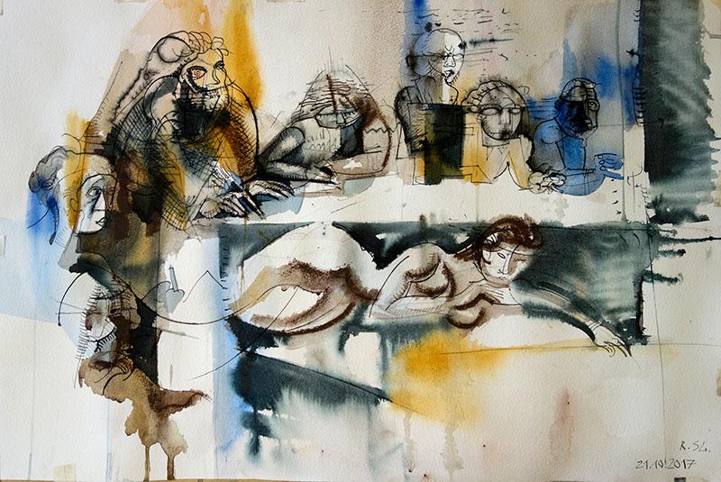2017 Tusche, Kreide, Rötel, Aquarell auf Papier 33x51,5