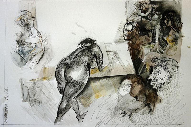 2017  Tusche, Kreide auf Papier 22,5x32