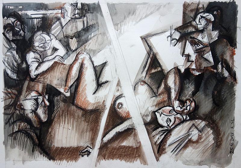 2018  Tusche, Kreide, Rötel auf Papier 29,5x41