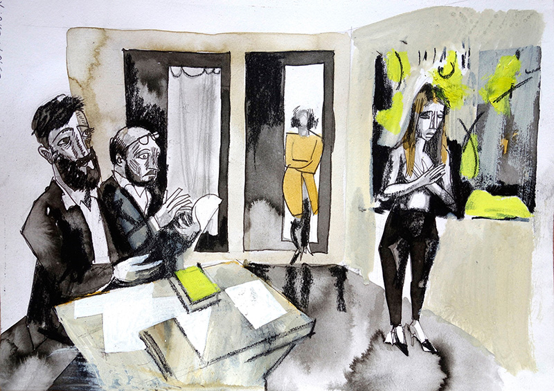 2016, Tusche, Kreide, Öl auf Papier, 21x29,5
