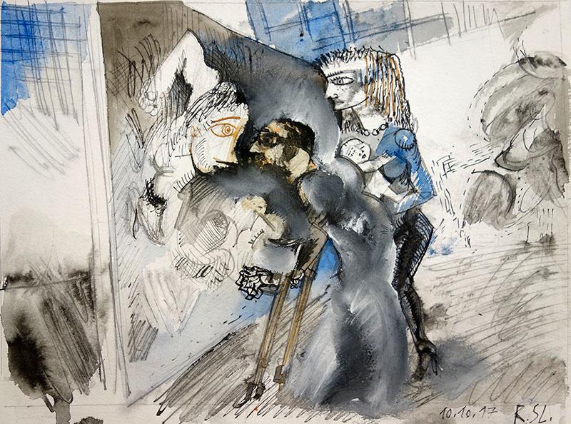 2017, Tusche, Aquarell auf Papier,  23,5x31