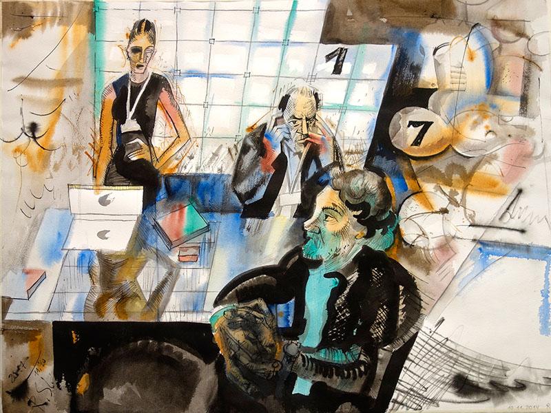 2017, Tusche, Aquarell auf Papier,  56,5x76