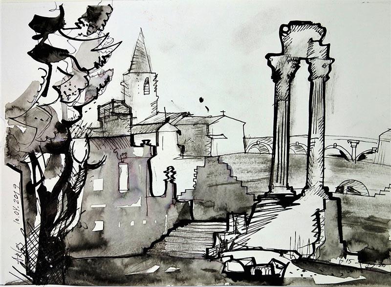 Arles (Provence), 2019, Stift, Tusche auf Papier, 21x 29,7