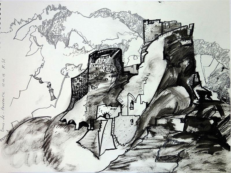 Baux-de-Provence, 2019, Kreide, Tusche auf Papier, 30x39