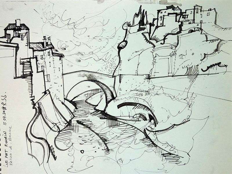 Vaison-de-Romana (Frankreich), 2019,Stift, Tusche auf Papier, 30x39