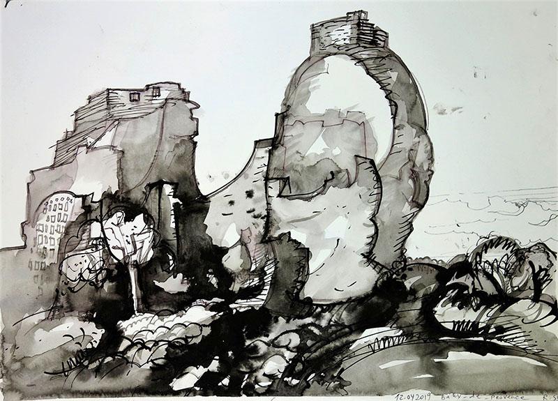 Baux-de-Provence, 2019, Kreide, Tusche auf Papier, 29,7x42