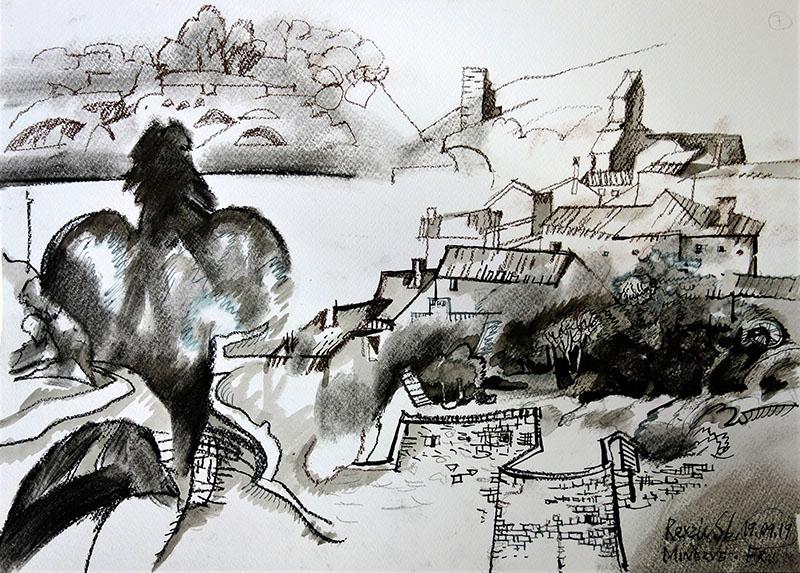Minerva (Frankreich), 2019, Kreide, Tusche, Rötel, auf Papier, 29,7x42