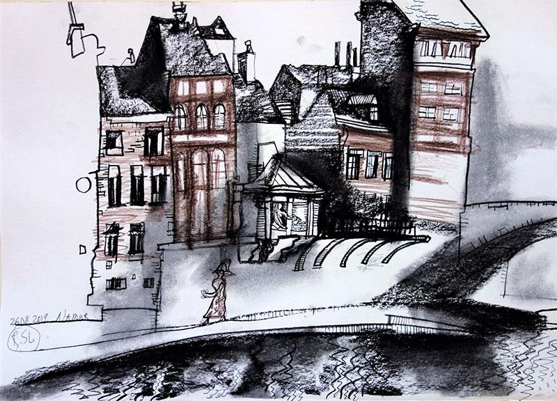 Namur (Belgien), 2019, Kreide, Rötel, auf Papier, 29,7x42