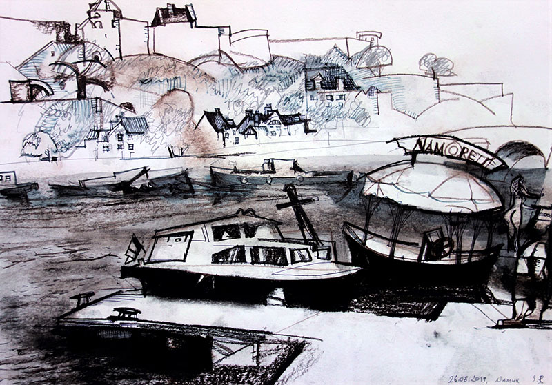 Namur (Belgien), 2019, Tusche, Kreide, Rötel  auf Papier, 29,7x42