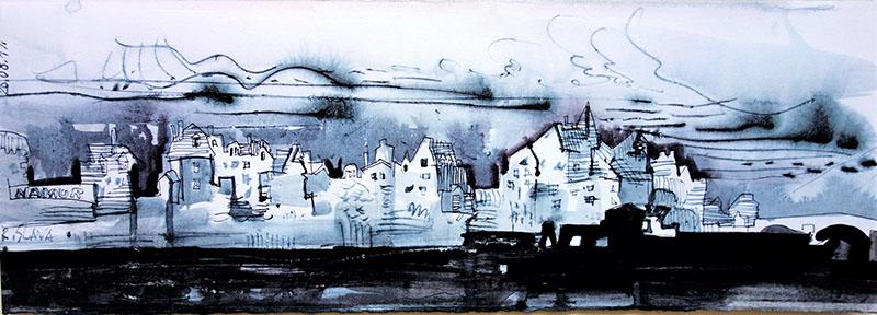 Namur (Belgien), 2019, Stift, Tusche auf Papier, 15x42