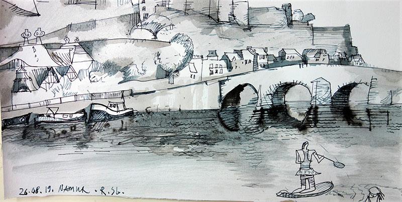 Namur (Belgien), 2019, Stift, Tusche auf Papier, 15,5x29,7