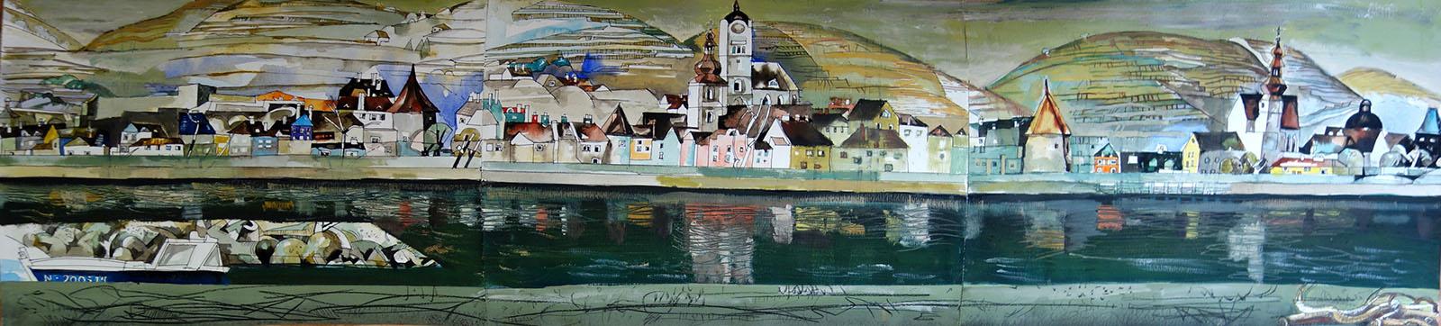 Stein an der Donau, 2015, Öl auf Papier,  30x122