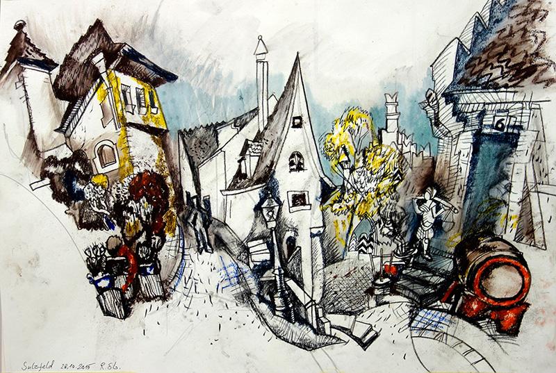 Sulzfeld, 2015, Kreide auf Papier,  42x56