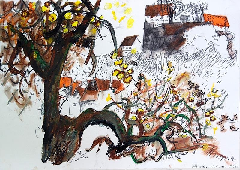 Pottenstein, 2015, Kreide, Pastell auf Papier, 42x56