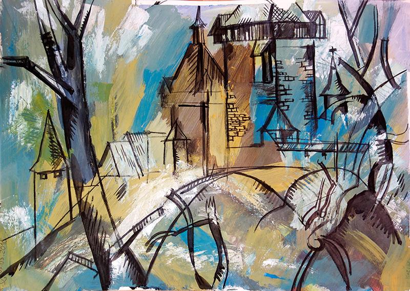 Burg Kokorin, 2016, Kreide, Guasche auf Papier,  29,5x42