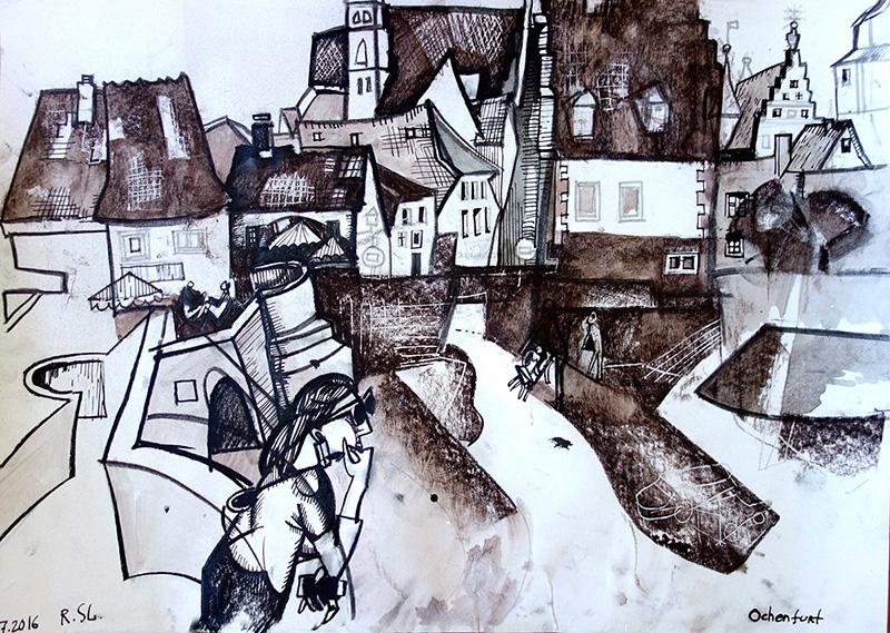 Ochsenfurt, 2016, Kreide auf Papier,  29,5x42