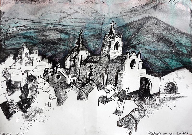 Vallbona de les Monges (Spanien),  2016 Stift, Kreide, Öl auf Papier  29,5x42