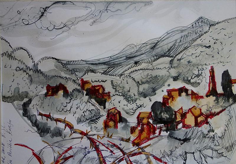 Palia Perithia, Korfu (Griechenland), 2018,  Stift, Tusche, Rötel, auf Papier, 29,7x42