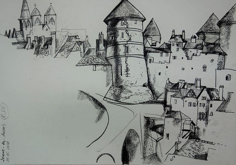 Semur-en-Auxois (Frankreich), 2018, Kreide auf Papier, 42x59,4