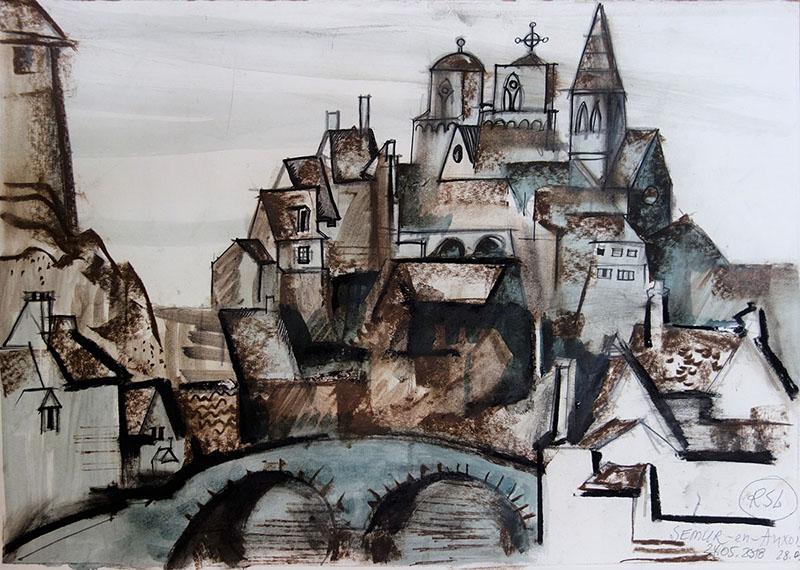 Semur-en-Auxois (Frankreich), 2018, Kreide, Tusche auf Papier, 29,5x42