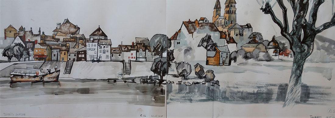 Tournus (Frankreich), 2018, Kreide, Tusche auf Papier, 42x119