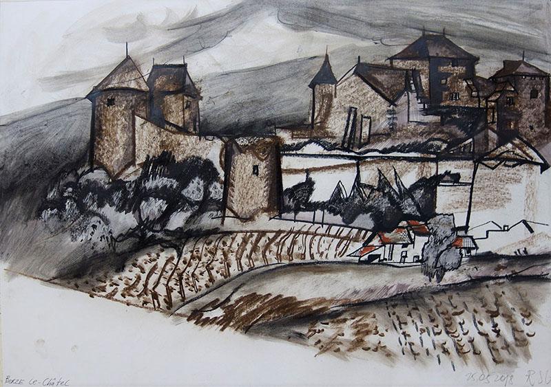 Berze le-Chatel (Frankreich), 2018, Keide, Rötel auf Papier; 42X59,4