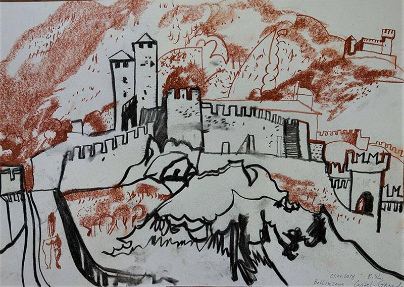 Castel Grande, Bellinzona (Schweiz), 2018, Kreide, Rötel auf Papier,  29,7x42