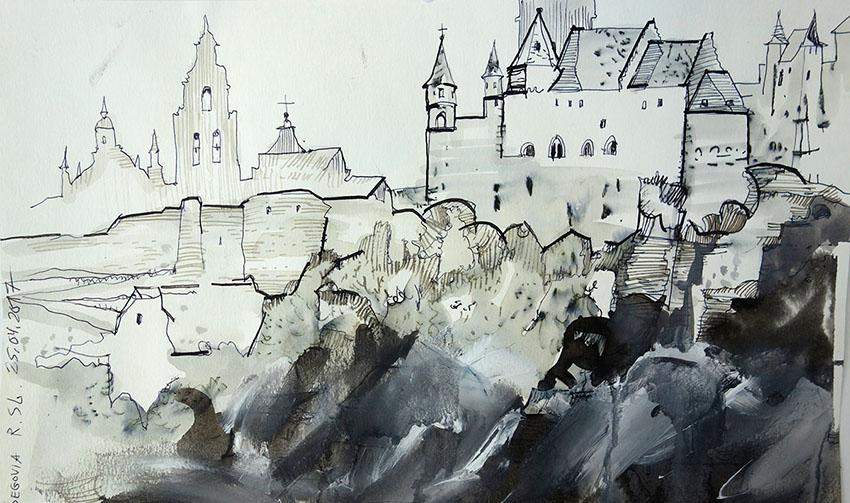 Segovia (Spanien), 2017, Stift, Tusche, Guasche auf Papier, 18x29,5