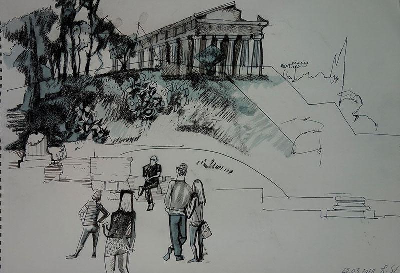 Athen (Griechenland), 2018, Stift, Tusche, Kreide auf Papier, 30x42