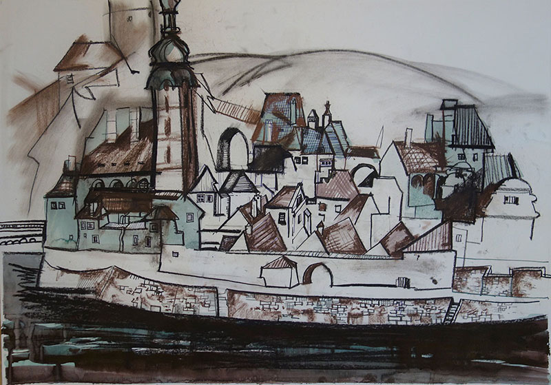 Krumlov (Tschechien), 2018, Tusche, Kreide, Rötel auf Papier, 42x59,4