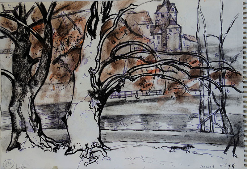 Loket (Tschechien), 2018, Kreide, Stift, Rötel, auf Papier, 30x42