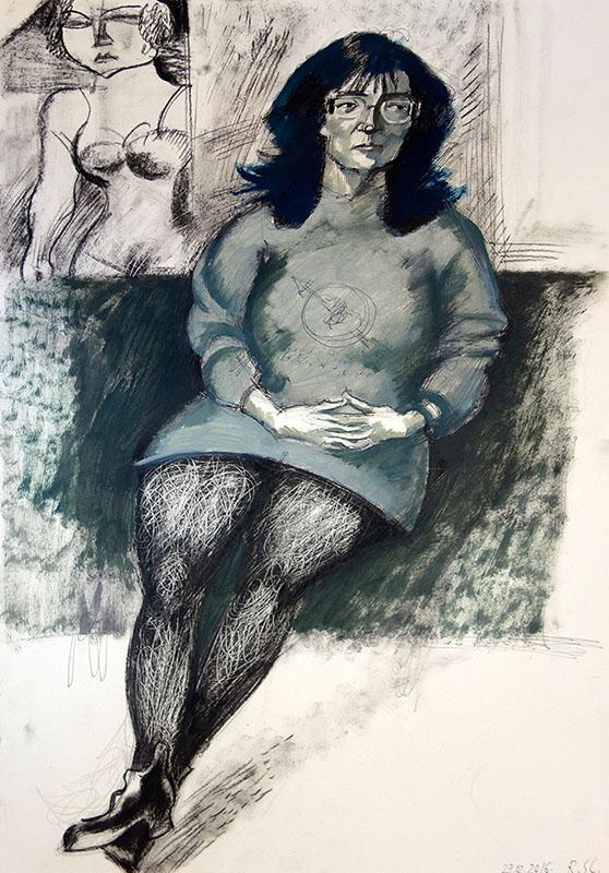 2016, Stift, Kreide, Öl auf Papier, 59,7x42