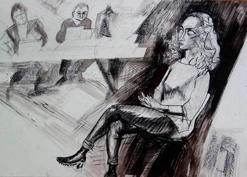2018, Tusche, Kreide auf Papier, 42x59,4