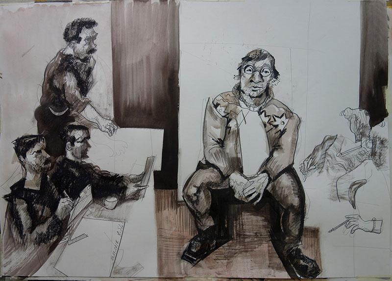 2018, Tusche, Kreide auf Papier, 59,4x84