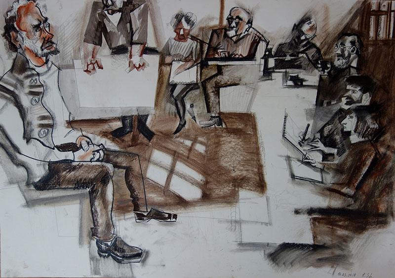 2018, Tusche, Kreide, Rötel auf Papier, 59,4x84