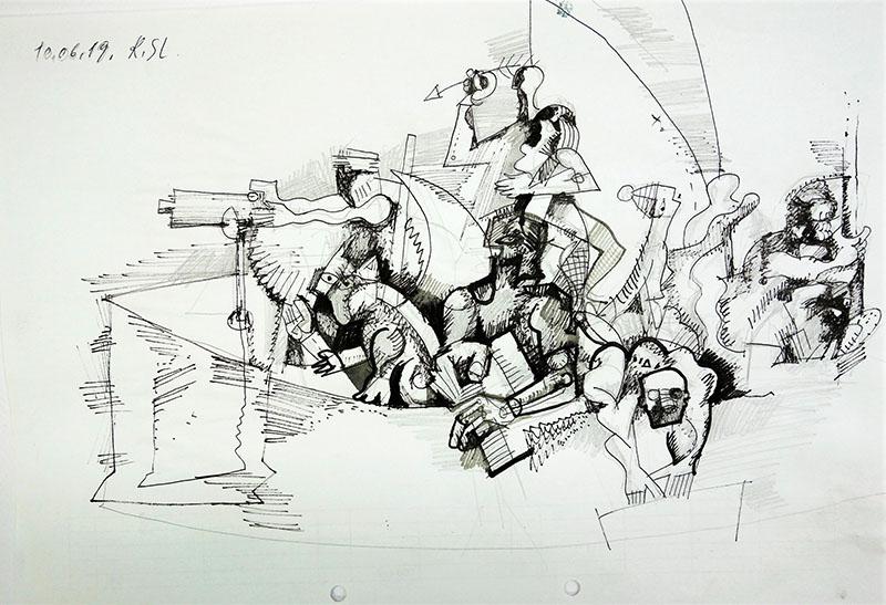 2019, Tusche, Stift auf Papier, 21x29,7