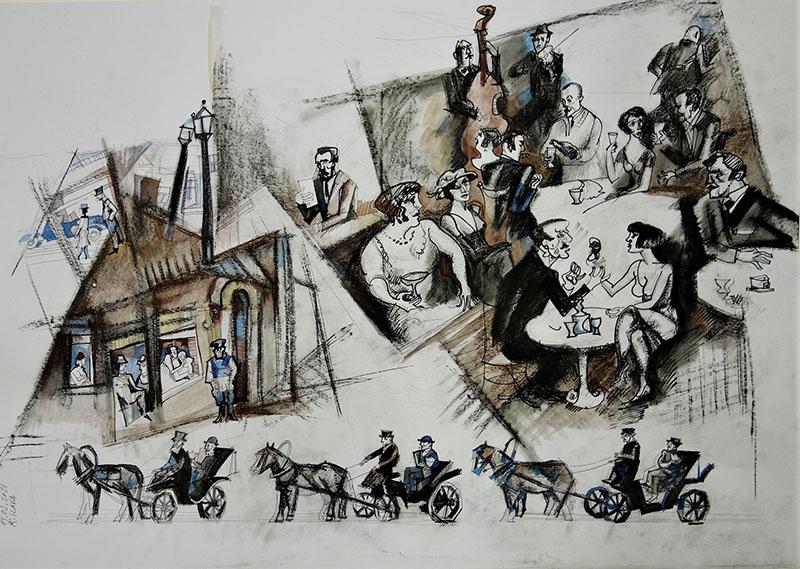 2021, Stift Kreide, Tusche, Aquarell auf Papier, 42x59,4