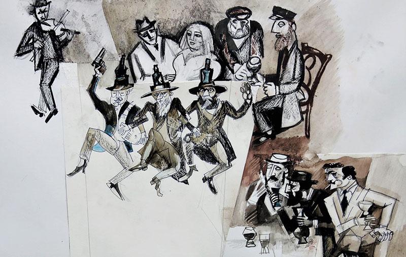 2021, Stift, Kreide, Tusche, Aquarell auf Papier, 30x48