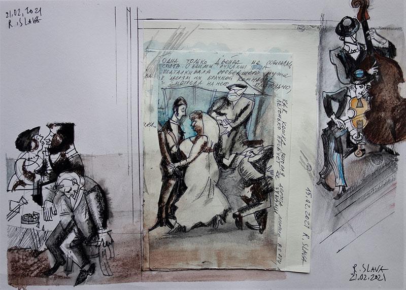 2021,  Stift, Kreide, Tusche, Aquarell auf Papier, 21x29,7